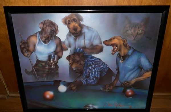 Dogs Shooting Pool