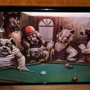 Dogs Shooting Pool Small
